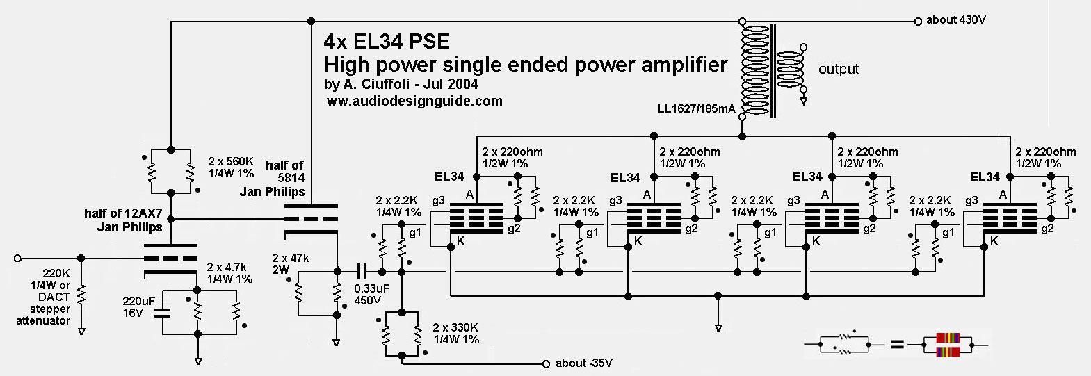 The New El34 Parallel Single Ended Tube Amp Diagram By Andrea Ciuffoli 2004
