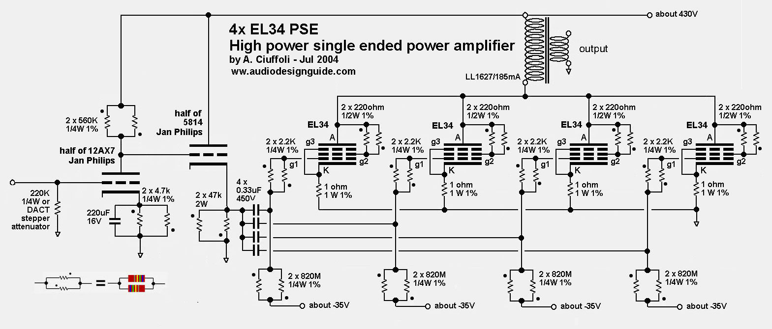 El34 Single Ended Se Tube Amplifier Schematic Radio Vacuum Otl Headphone Circuit Diagram Amplifiercircuit
